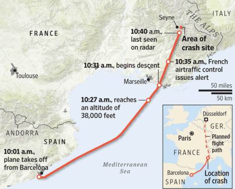 german plane crash  100 feet map